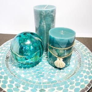 Pier 1 Decorative Centerpiece Plate w/ Candles